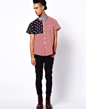 Image 4 ofReclaimed Vintage Shirt with American Flag Print