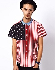Reclaimed Vintage Shirt with American Flag Print