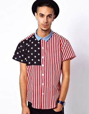 Image 1 ofReclaimed Vintage Shirt with American Flag Print