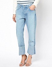 Mih Phoebe Deep Turn Up Boyfriend Jeans With Distressing