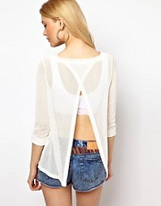 River Island Fine Knit Split Back Top