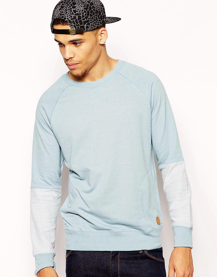 Native Youth Knit Reverse Sleeve Loop Back Crew - Blue