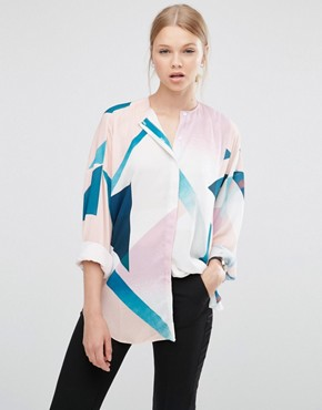 ASOS Collarless Blouse in Abstract Print