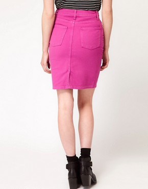 Image 2 ofAmerican Apparel Bull Denim High Waist Skirt