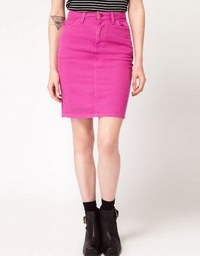 Image 4 ofAmerican Apparel Bull Denim High Waist Skirt
