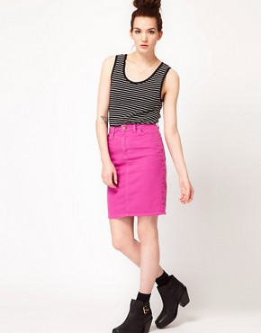 Image 1 ofAmerican Apparel Bull Denim High Waist Skirt