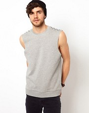 ASOS Sleeveless Sweatshirt With Studs