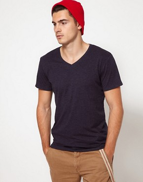 Image 1 ofSolid V-Neck T-Shirt with Fleck
