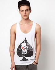ASOS Tank With Skull Print And Extreme Racer Back