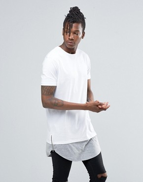 ASOS Super Longline T-Shirt With Curved Hem Extender And Side Zips In White
