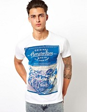 River Island T-Shirt With Amsterdam Bike Print