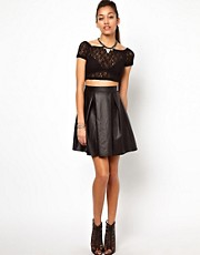 River Island High Waisted Leather Look Skater Skirt