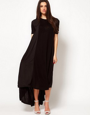 Image 1 ofASOS Maxi T-shirt Dress In Jersey And Woven Mix