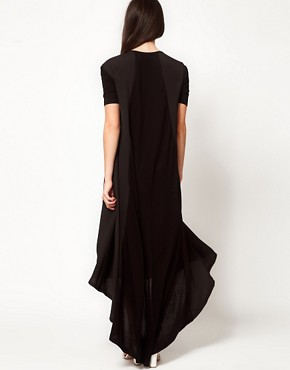 Image 2 ofASOS Maxi T-shirt Dress In Jersey And Woven Mix