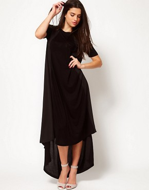 Image 4 ofASOS Maxi T-shirt Dress In Jersey And Woven Mix