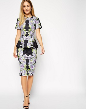 ASOS Premium Floral Peplum Dress