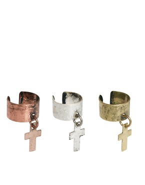 Image 1 ofJust Acces Three Pack Of Cross Ear Cuffs