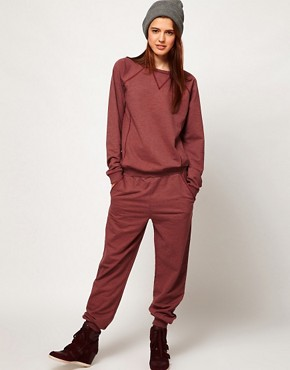Image 1 ofASOS Onesie with Zip Back in Sweat