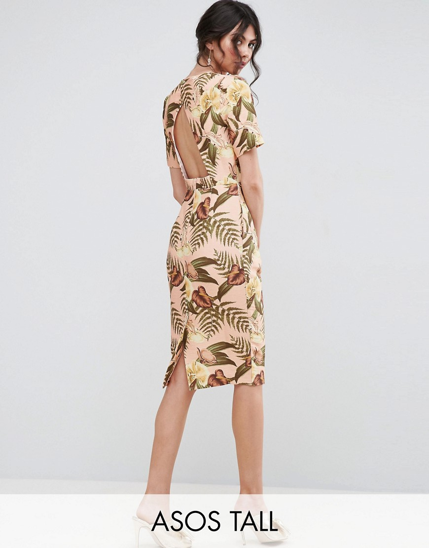 ASOS TALL Wiggle Dress with Open Back in Tropical Print - Multi
