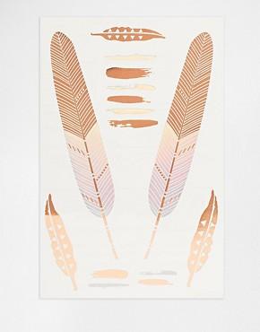 Orelia Feather 2 Tone Rose Gold And Iridescent Temporary Tattoos