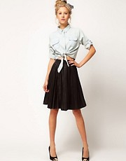 ASOS Premium Pleat Skirt In Leather
