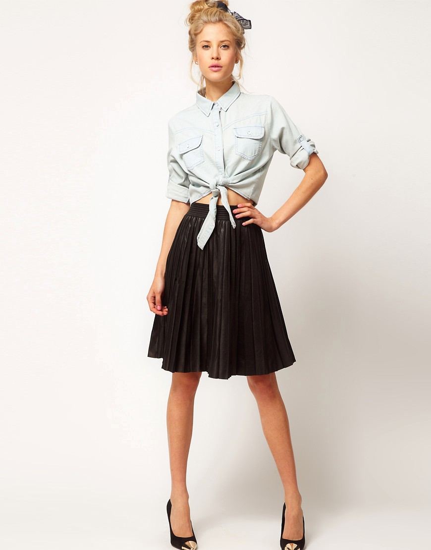 Image 1 of ASOS Premium Pleat Skirt In Leather