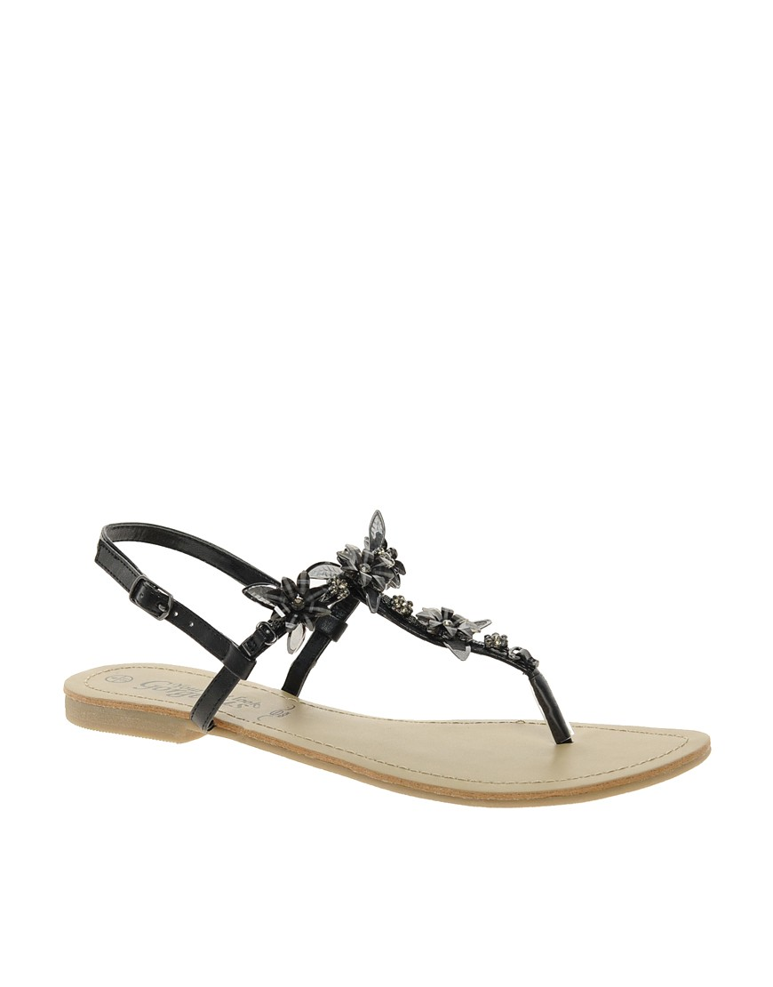 Image 1 of New Look Fairy Black Enamel Flower Flat Sandals