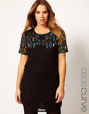 ASOS CURVE Dress With All Over Embellishment
