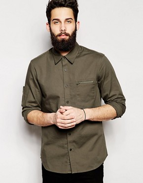 ASOS Twill Shirt In Long Sleeve With Zip Detail
