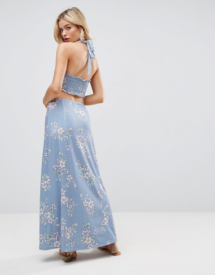 ASOS Halter Neck Maxi Dress With Shirred Back Panel In Floral Print - Floral print