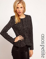 ASOS PETITE Peplum Jacket In Animal Print