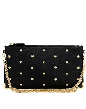 Image 1 ofASOS Snake Stud Metal Corner Across Body Bag
