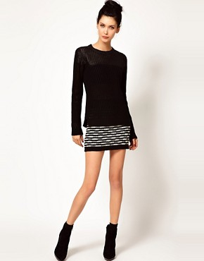 Image 1 ofEdun Zebra Stripe Crochet Sweater Skirt