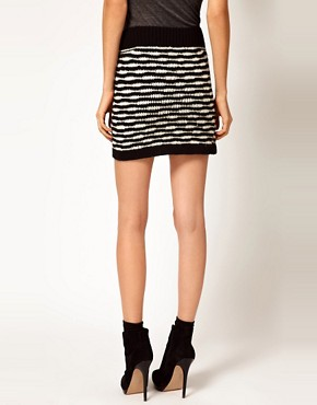 Image 2 ofEdun Zebra Stripe Crochet Sweater Skirt