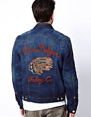 True Religion Jacket Jimmy Denim Back Embroidered Logo