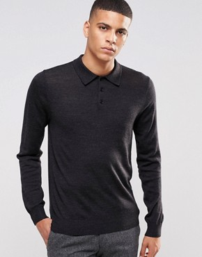 Reiss Long Sleeve Polo In Merino