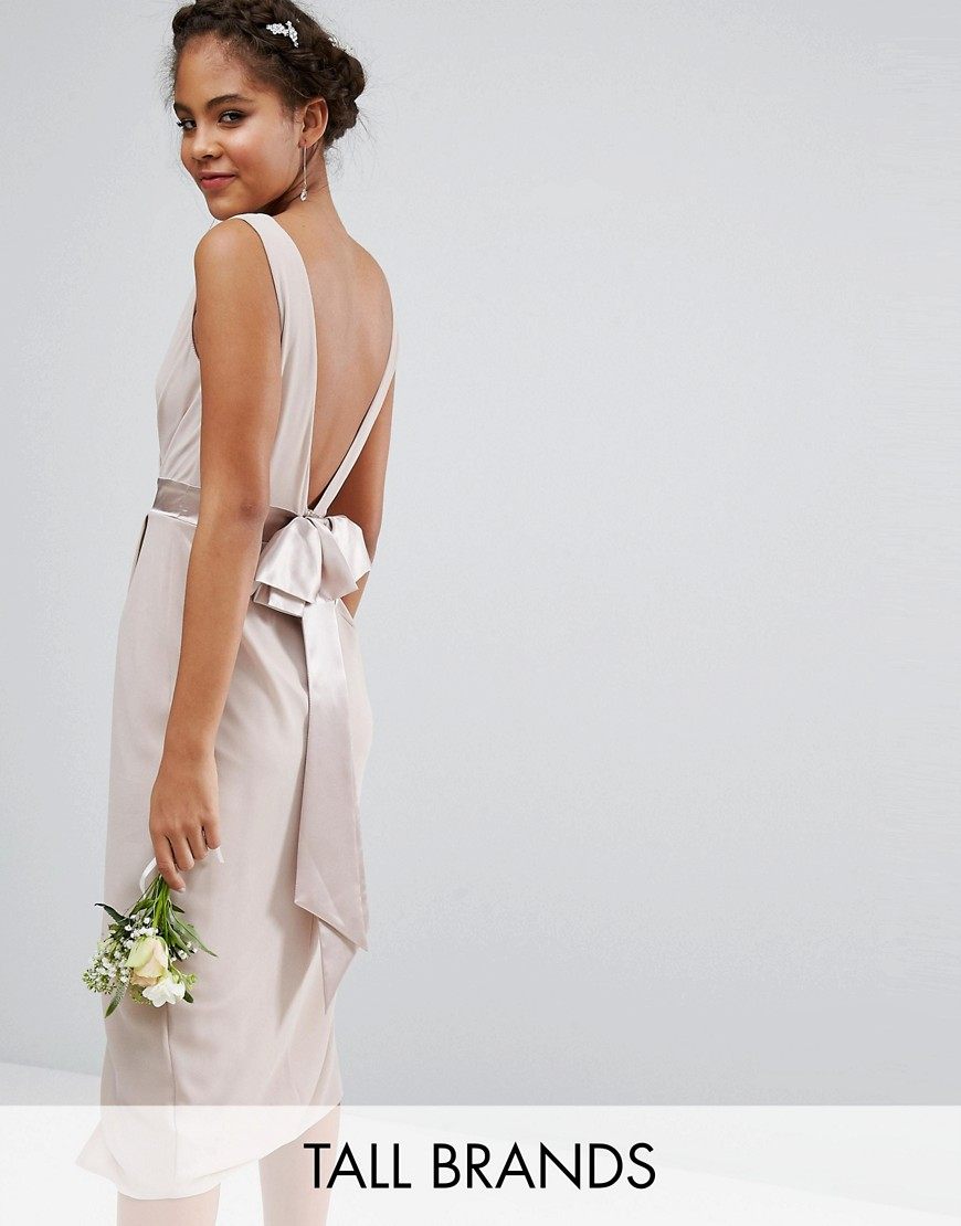TFNC Tall Wedding Wrap Midi Dress With Bow Back - Pink