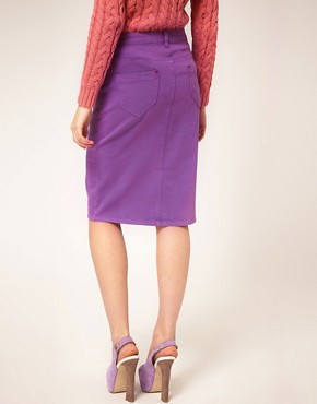 Image 2 ofASOS Denim Pencil Skirt in Dewberry