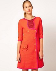 M Missoni Structured Double Breasted Coat Dress With Scoop Neck
