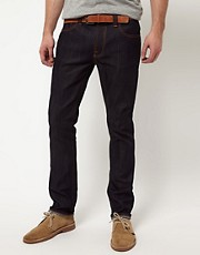 Nudie Thin Finn Organic Dry Ecru Embro Skinny Jeans