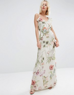 ASOS Botanical Ruffle Soft Cami Maxi Dress