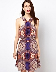 Warehouse Mosiac Tile Print Silk Dress