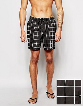 ASOS Swim Shorts In Mid Length With Check