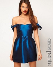 ASOS PETITE Exclusive Off Shoulder Dress With Bow Detail