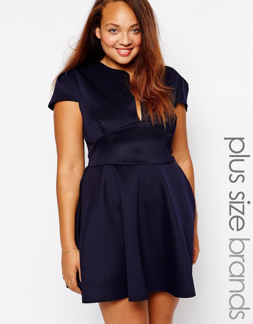 Plunge neck dress plus size