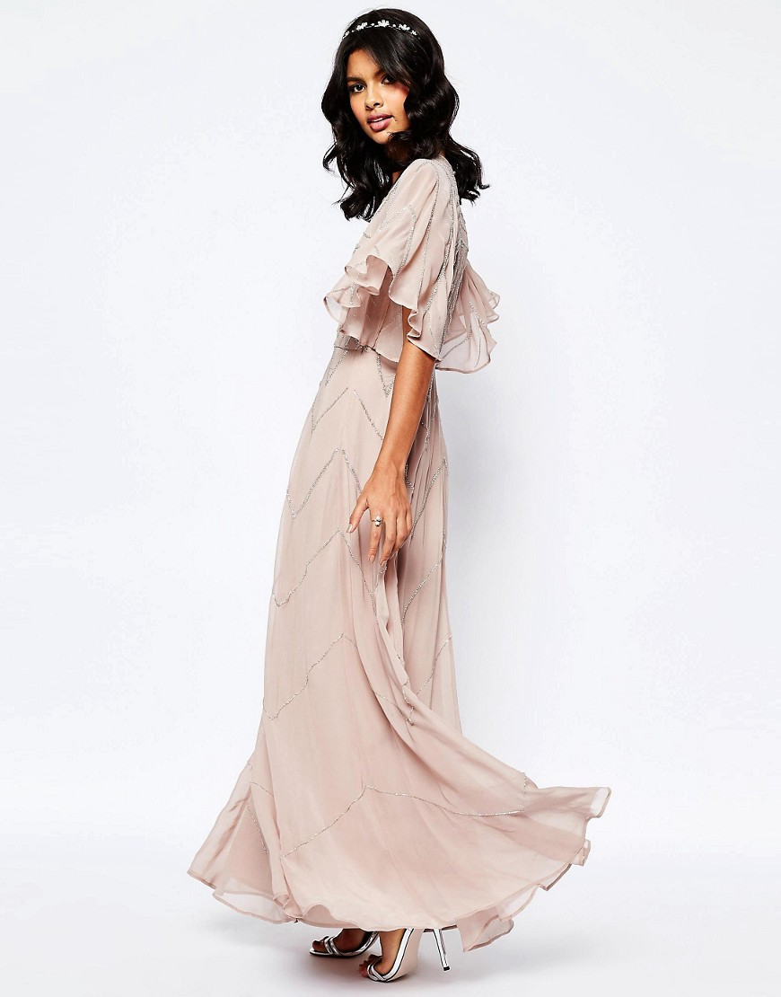 Asos asos wedding embellished flutter sleeve maxi dress for Flutter sleeve wedding dress