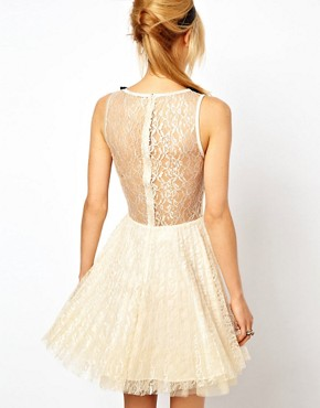 Image 2 ofASOS Lace Skater Dress with Pleated Skirt