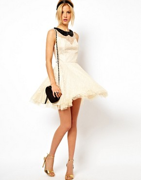 Image 4 ofASOS Lace Skater Dress with Pleated Skirt