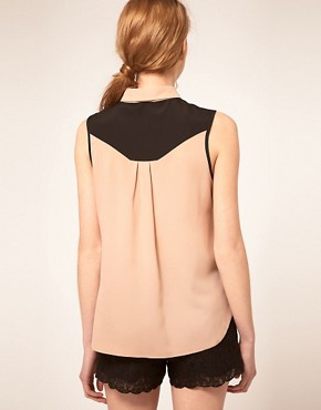 Image 2 ofASOS Sleeveless Blouse With Colourblocking