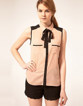 Image 1 ofASOS Sleeveless Blouse With Colourblocking